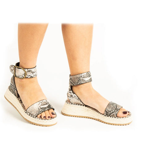 Fabio-01A Beige Brown Snake Single Band Wedge Sandals