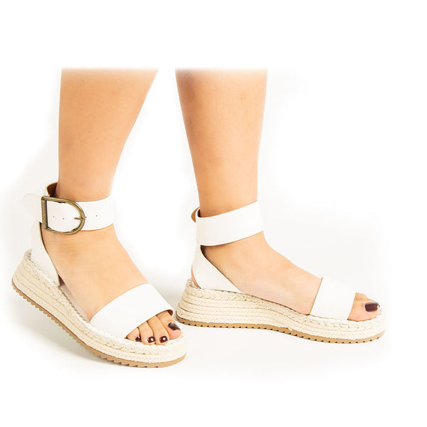 Fabio-01A White Croco Single Band Wedge Sandals