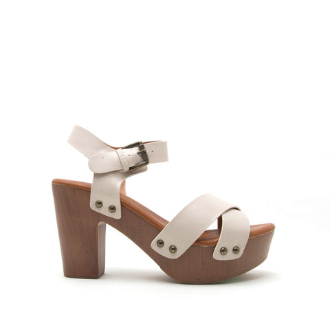 Farris-01 Beige X-Band Ankle Strap Sandal