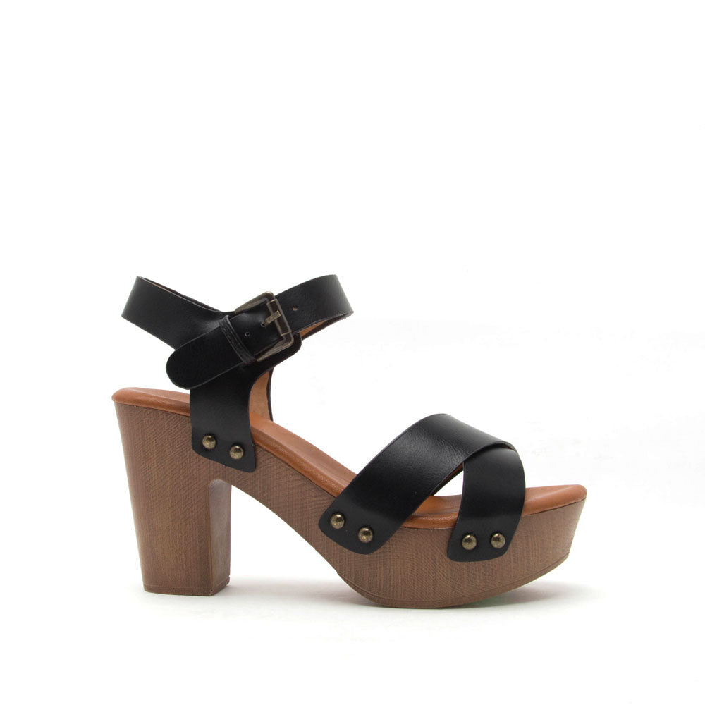 b115bb4b38a Qupid Women Shoes Farris-01 Black X-Band Ankle Strap Sandal