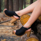Farris-08 Black Open Toe Mule Sandal