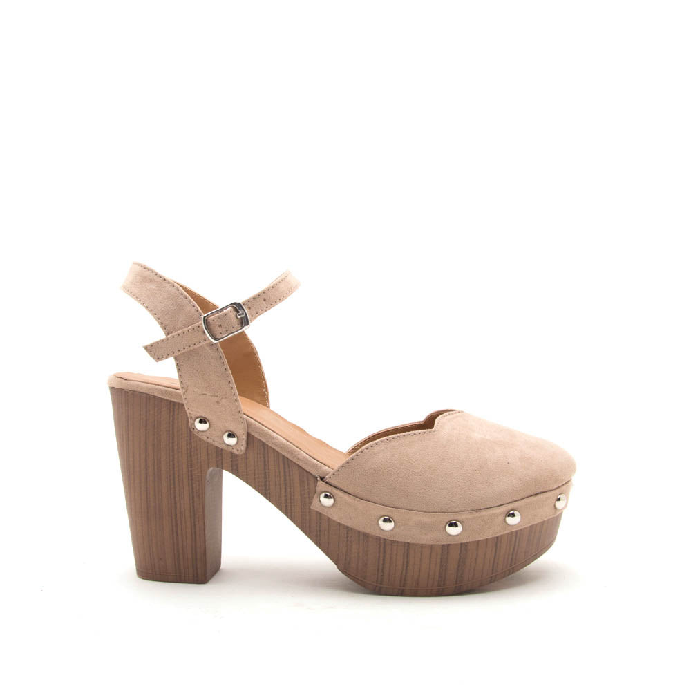 Farris-11 Taupe Ankle Strap Clog Sandals