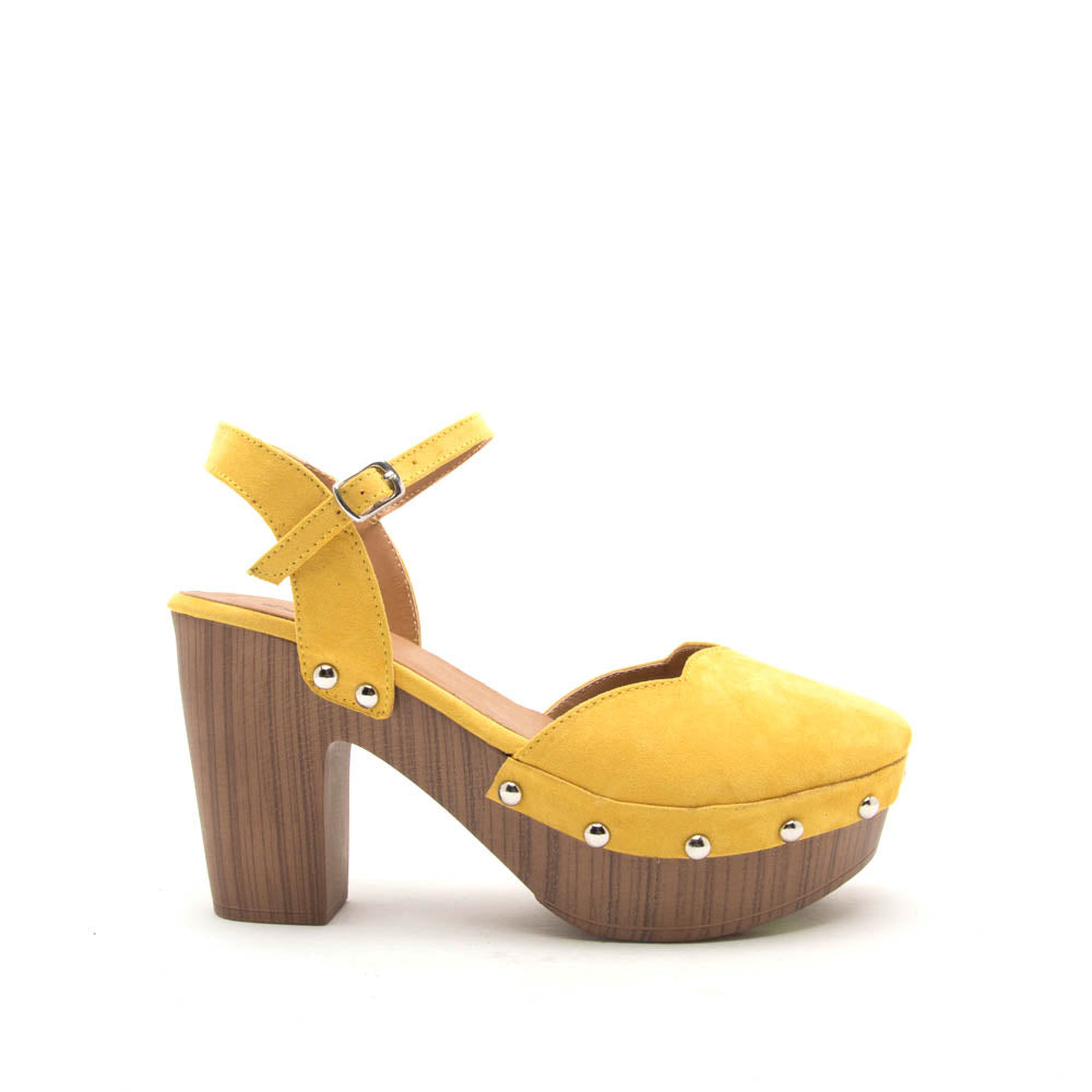 Farris-11 Yellow Ankle Strap Clog Sandals