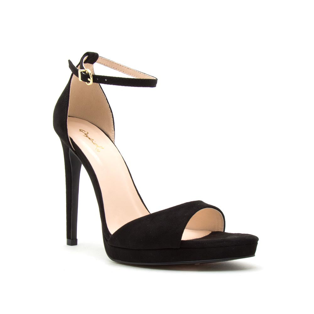 Fearless-01 Black Ankle Strap Heels