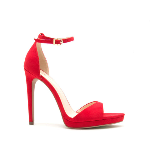 Fearless-01 Red Ankle Strap Heels