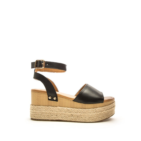 Feora-28 Black Single Band Wedge Sandals
