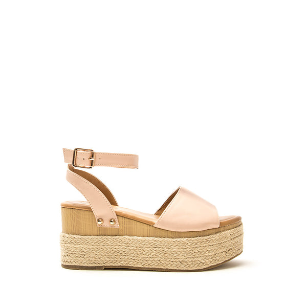 Feora-28 Blush Single Band Wedge Sandals