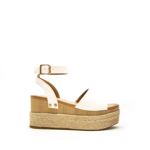 Feora-28 White Single Band Wedge Sandals