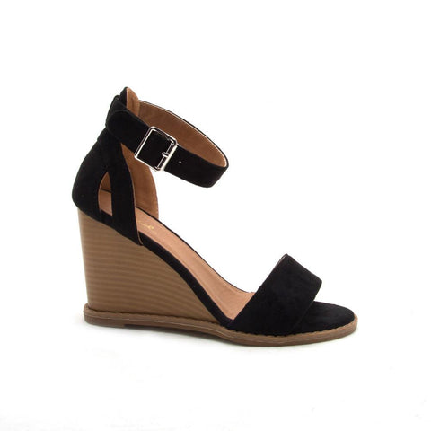 Finley-01 Black Wedge Sandal