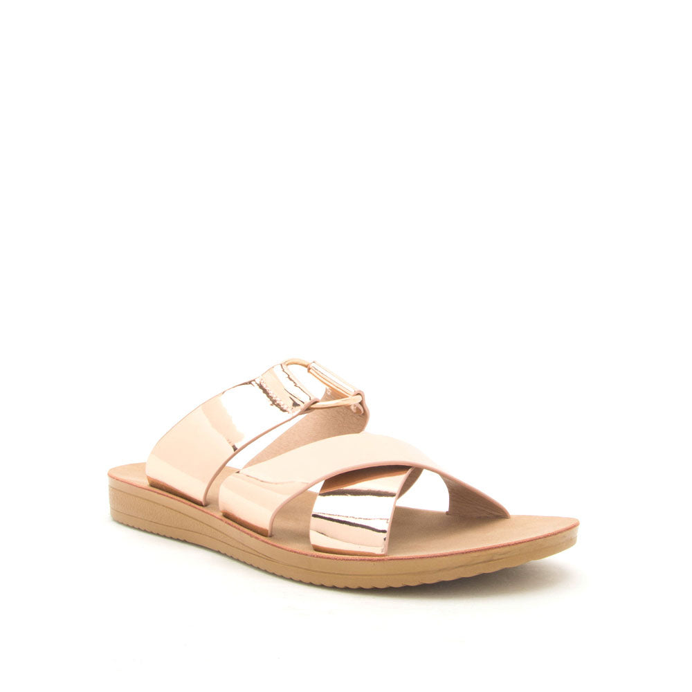 Flex-03 Rose Gold Metallic O Ring Strappy Slides