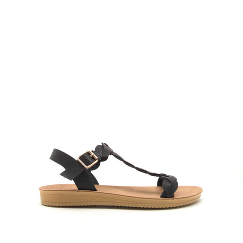 Flex-04 Black Braided T Strap Sandals