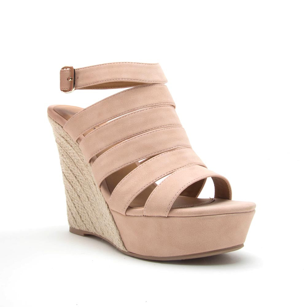 Flower-12 Blush Strappy Wedge Sandal