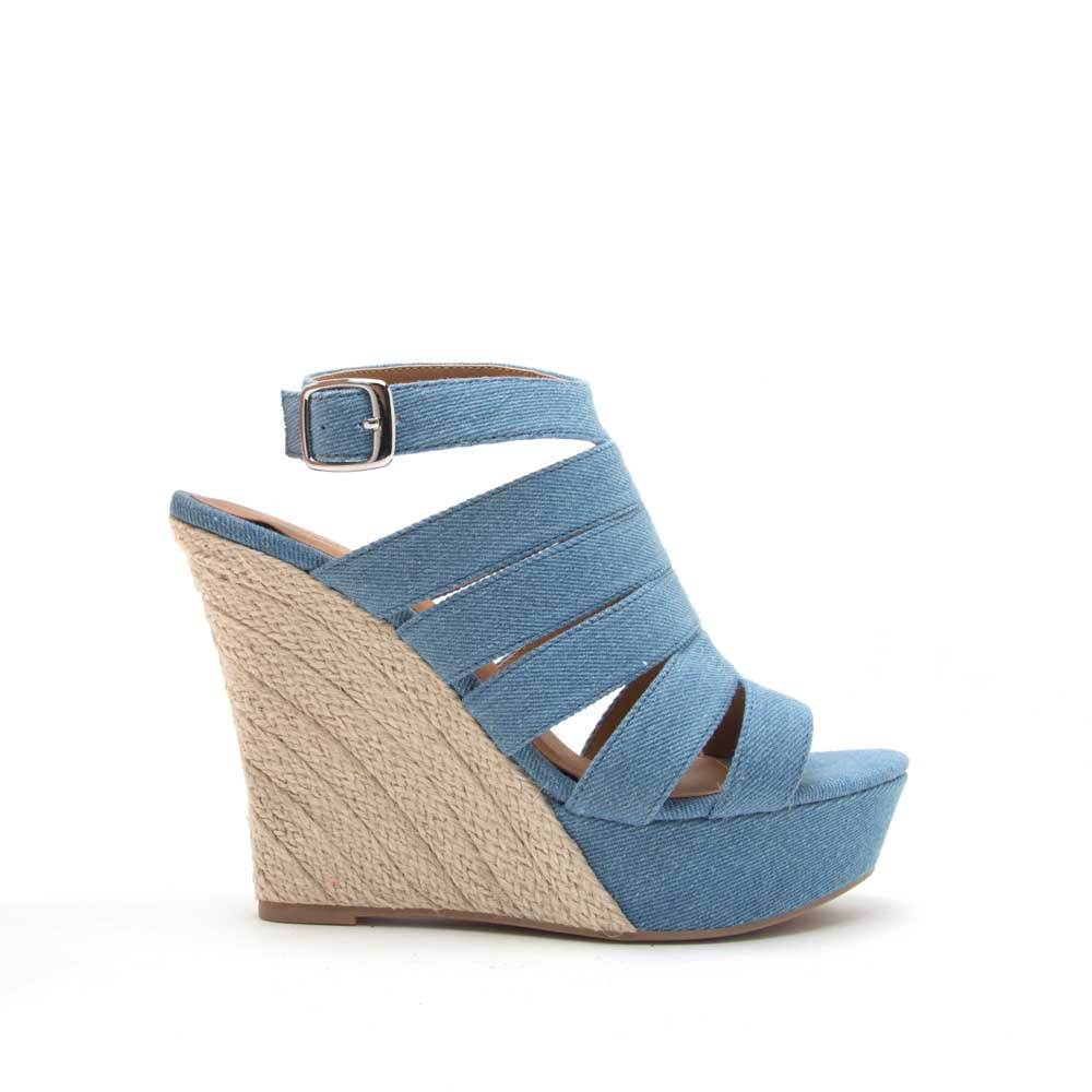 c8b92b149b2 Flower-12 Light Blue Denim Strappy Wedge Sandal