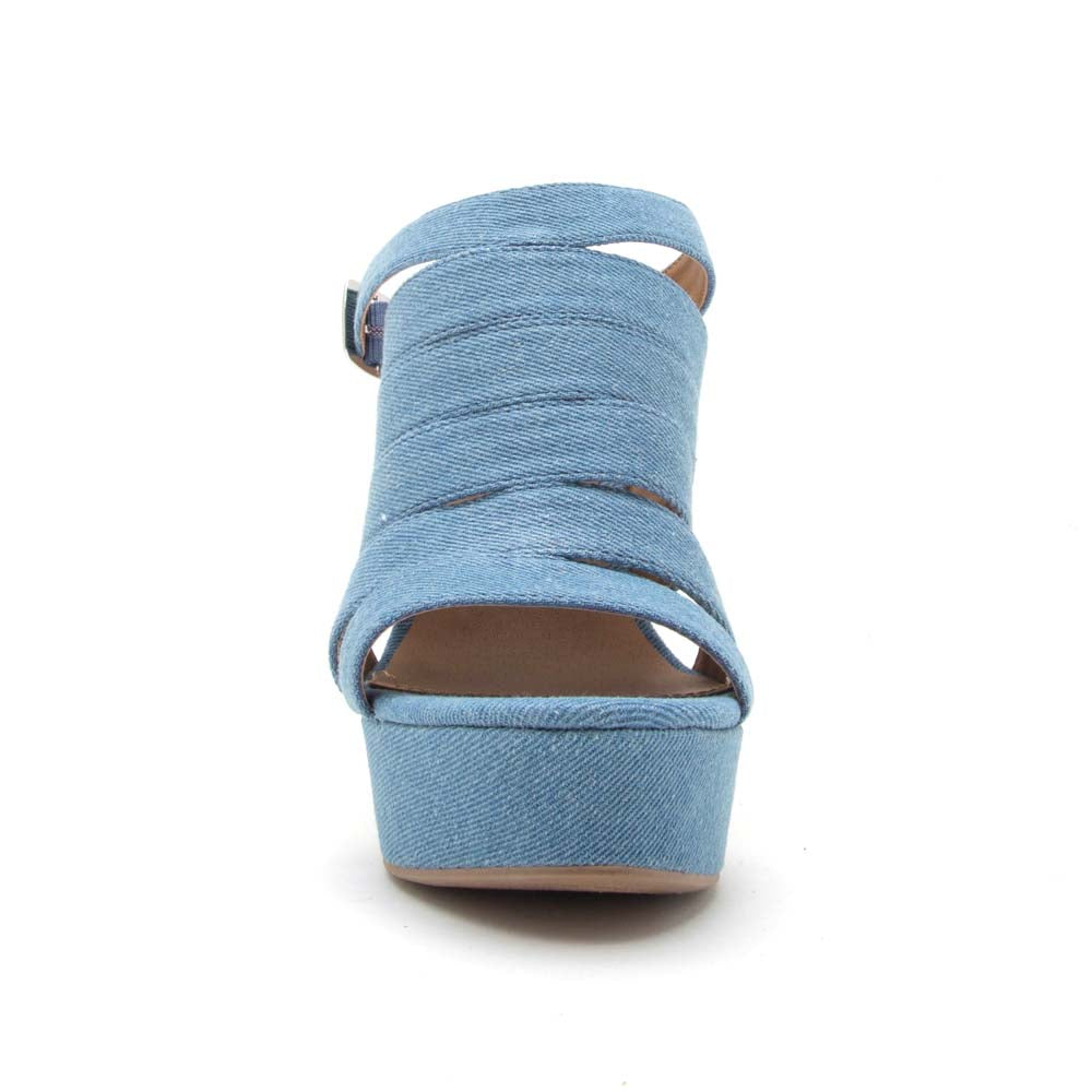 Flower-12 Light Blue Denim Strappy Wedge Sandal
