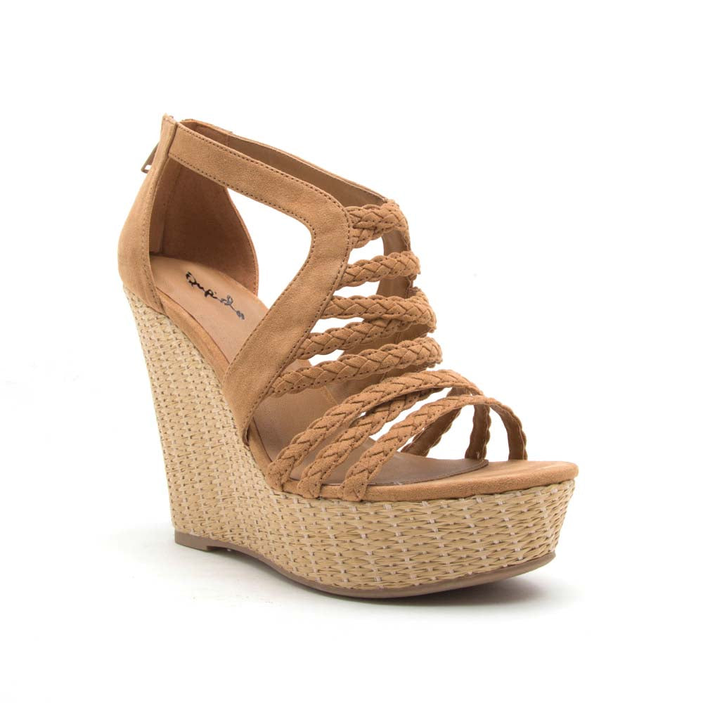 Flower-15 Camel Braided Wedge Sandal