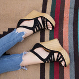 Flower-15 Black Braided Wedge Sandal