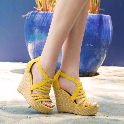 Flower-15 Yellow Braided Wedge Sandal