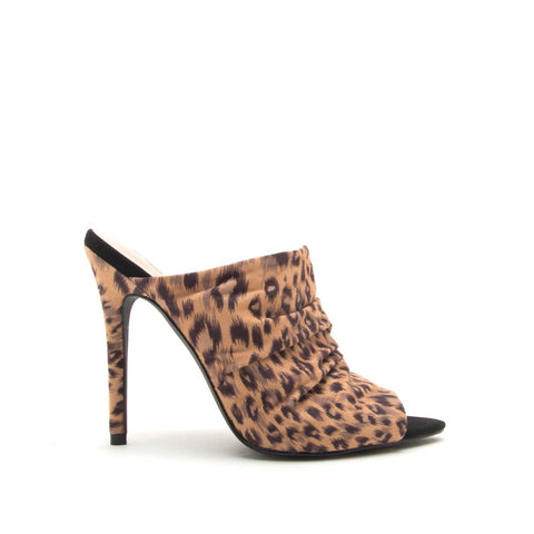 Frasier-35 Tan Black Leopard Ruched Mule Sandals