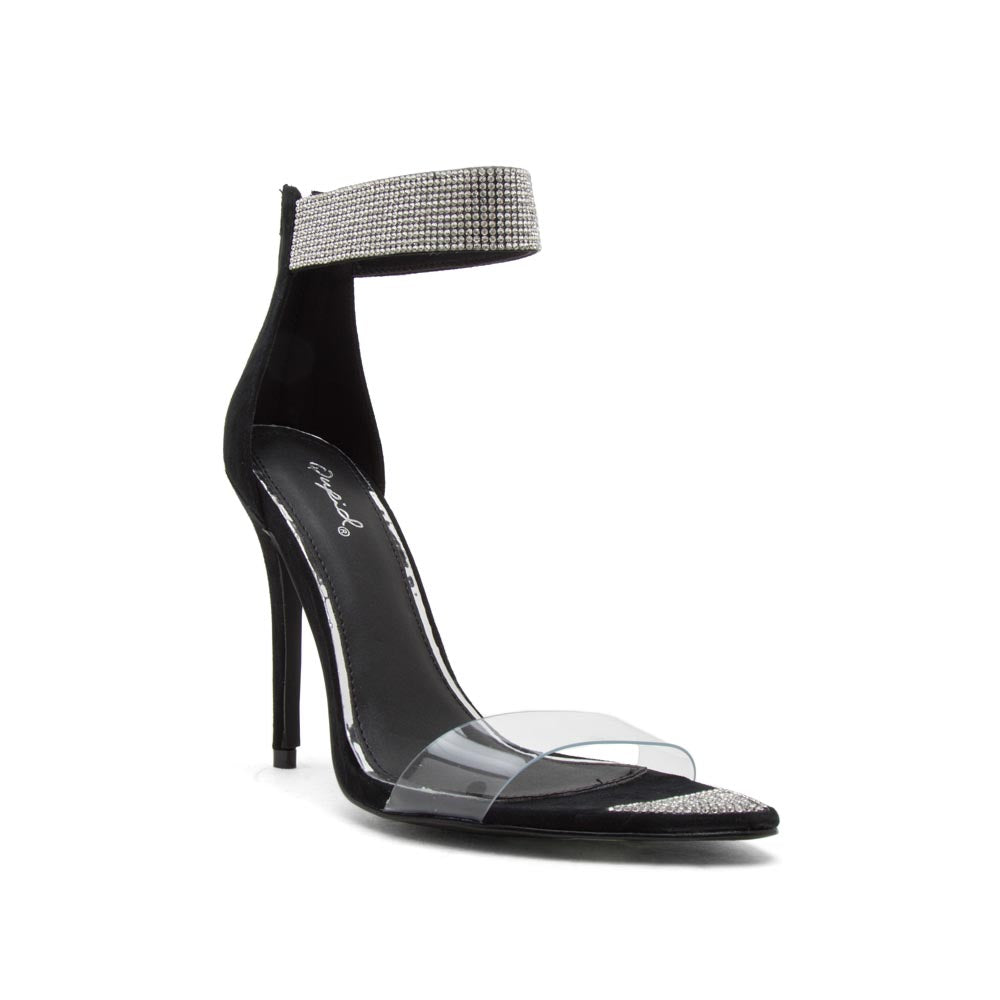 Frasier-71 Black Single Band Ankle Strap Sandals