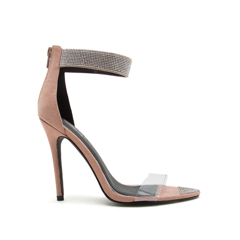 Frasier-71 Blush Single Band Ankle Strap Sandals
