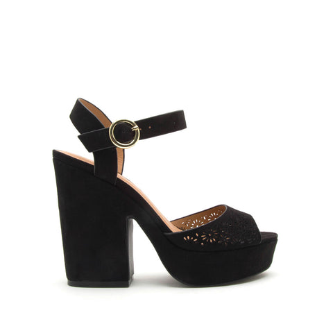 Gavin-33X Black One Band Chunky Heel