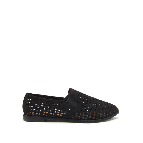 Genifer-01 Black Perforated Ballerinas