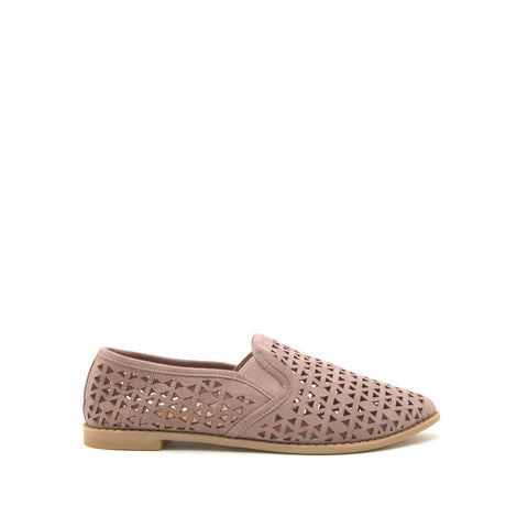 Genifer-01 Taupe Perforated Ballerinas