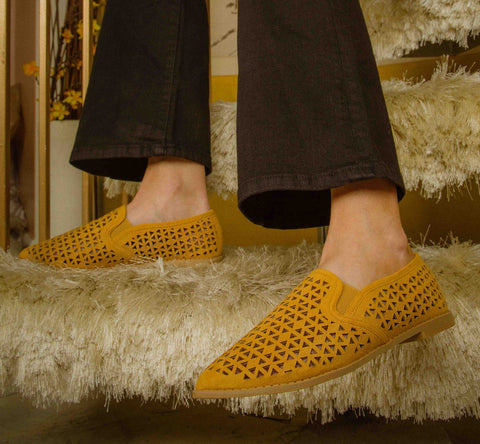 Genifer-01 Mustard Perforated Ballerinas