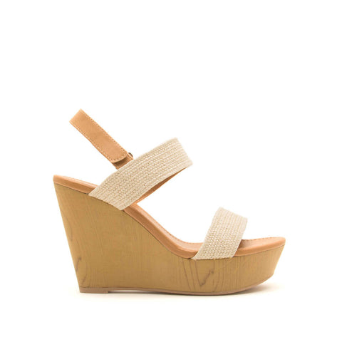 Gimmick-98A Beige Double Band Wedge Sandals