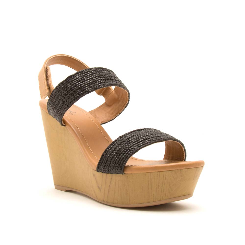 Gimmick-98A Black Double Band Wedge Sandals