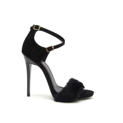 GLADLY-69 Black Fur Sandal