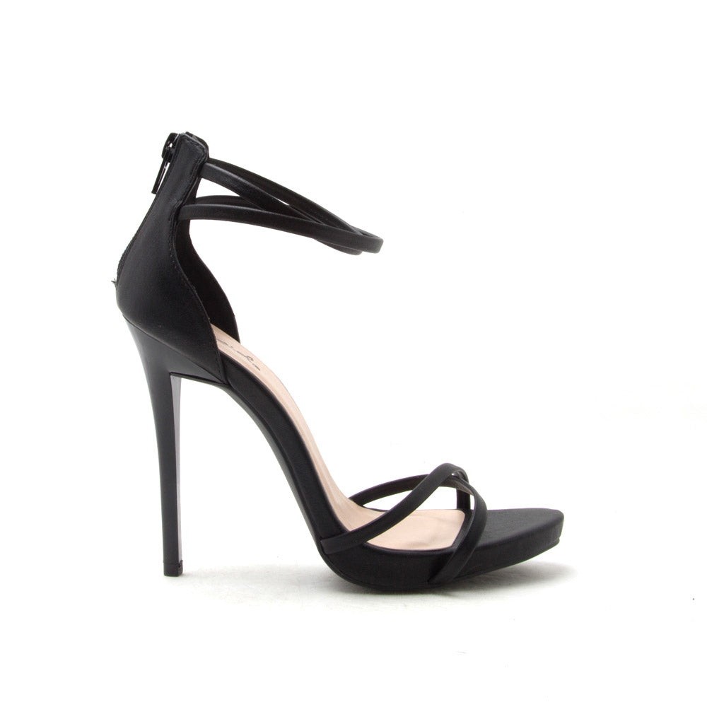 Gladly-76 Black Cross Strap Heel