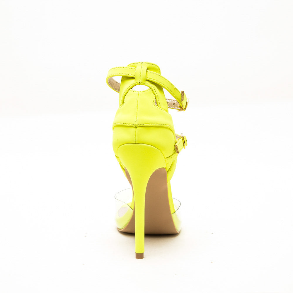 Qupid GLEE-91 Neon Yellow Back View