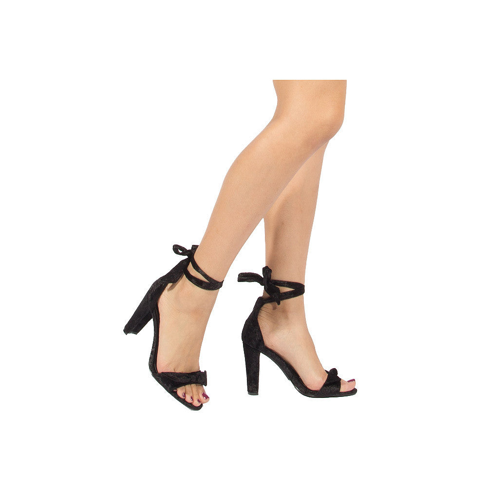 GOODNEY-01 Black Velvet Ankle Wrap Sandal