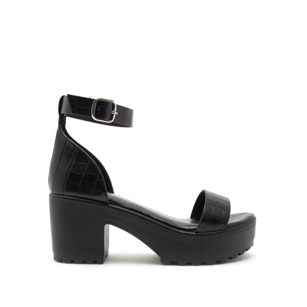 Gratia-01 Black Crocodile Single Band Ankle Strap Sandals