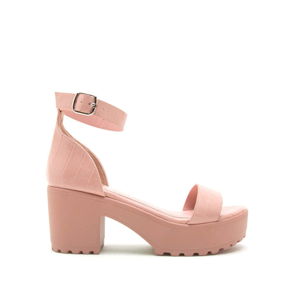 Gratia-01 Blush Crocodile Single Band Ankle Strap Sandals