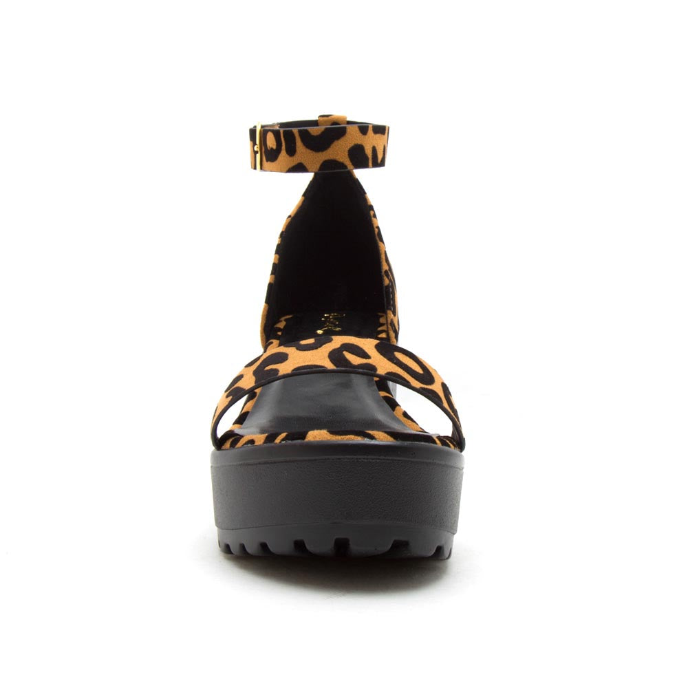 Gratia-01 Camel Black Leopard Single Band Ankle Strap Sandals