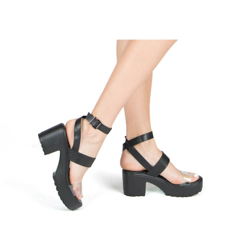 Gratia-02 Black Triple Band Sandals