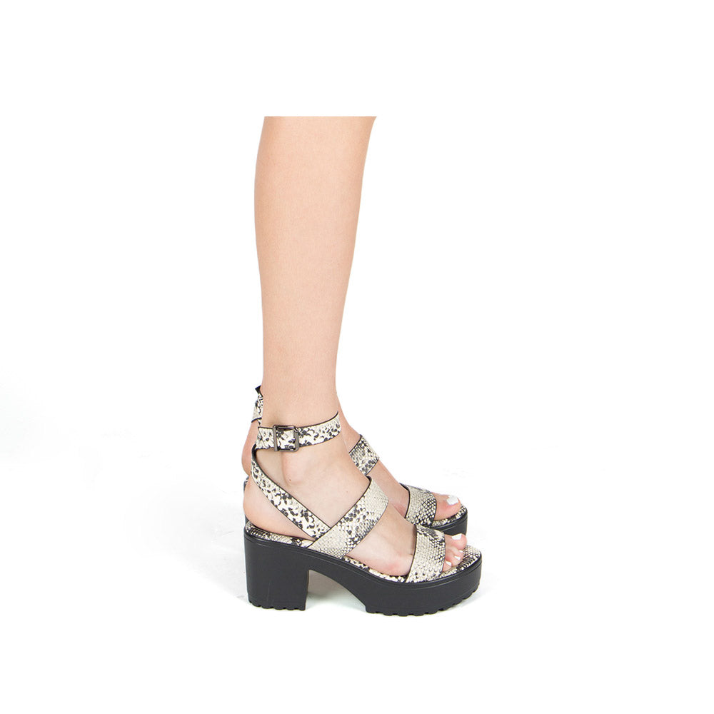 Gratia-02 Stone Black Snake Triple Band Sandals