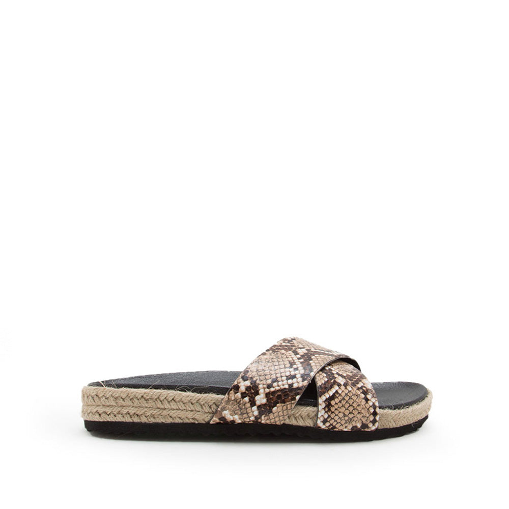 Hachi-01 Taupe Brown Snake X Band Slides