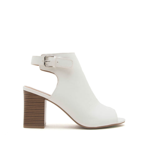 Haira-04B White Mule Slingback Sandals