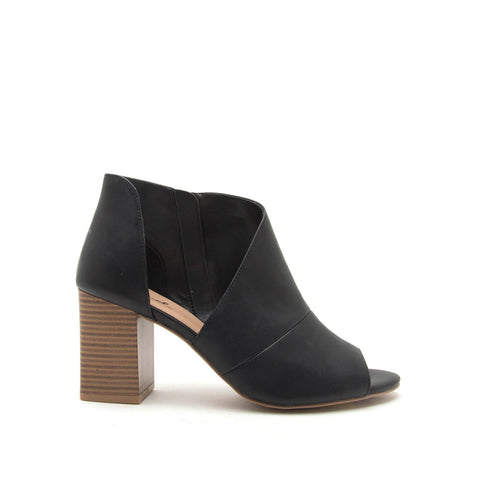 Haira-07X Black Open Shank Peep Toe Booties