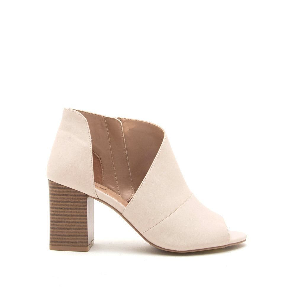 Haira-07X Stone Open Shank Peep Toe Booties