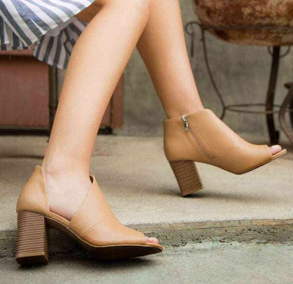Haira-07X Tan Open Shank Peep Toe Booties