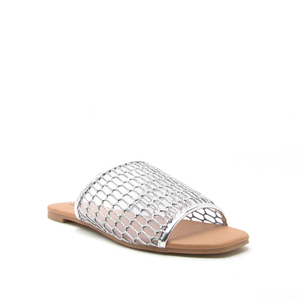Hazy-48 Silver Metallic Mesh One Band Slide