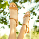Hazy-50 Camel Single Band Elastic Sandals