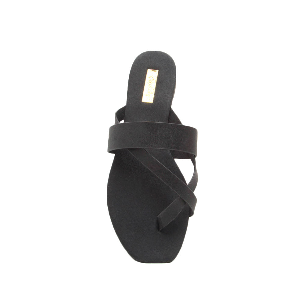 Hazy-52 Black Thong Slide In Sandals