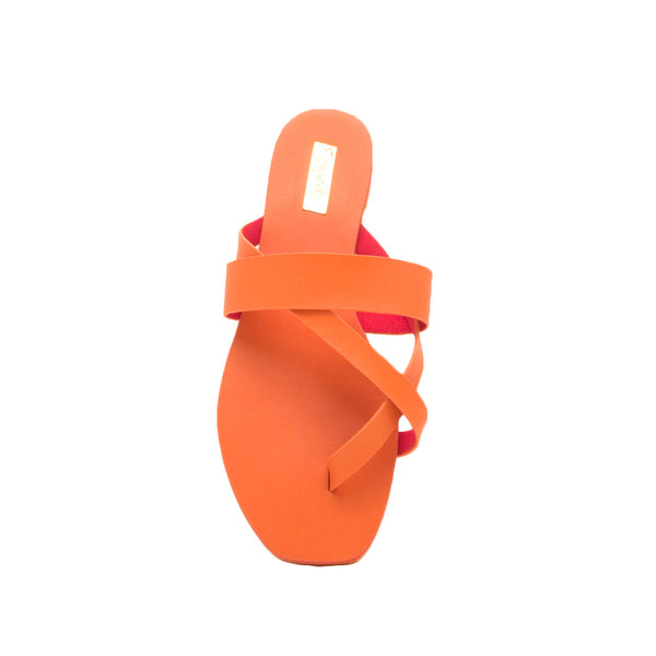 Hazy-52 Orange Thong Slide In Sandals