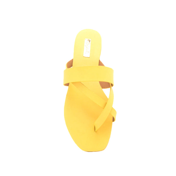 Hazy-52 Yellow Thong Slide In Sandals