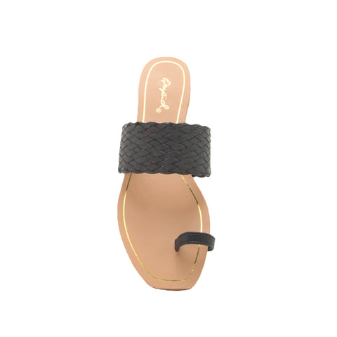 Hazy-58X Black Toe Ring One Band Sandals
